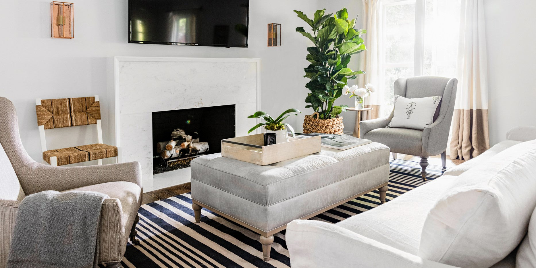 Image of a living room with rearranged furniture