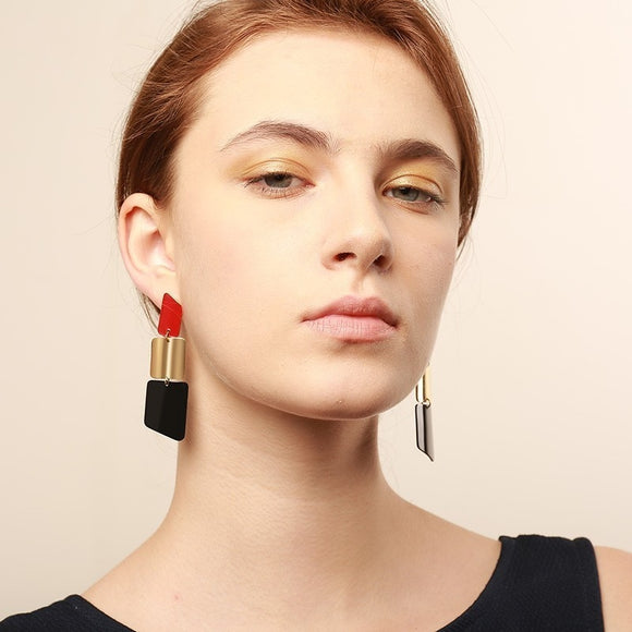 Vnox Lipstick Design Long Earrings
