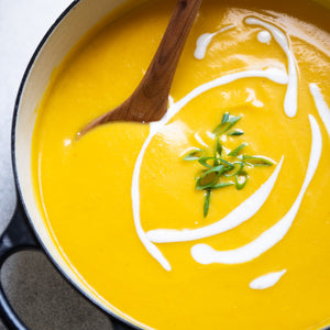 Stay warm with this flavorful vegan butternut squash soup that's flavored with Asian spices