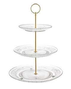 Fisher Home Products 3-Tiered Serving Stand (Glass) Beautiful, Elegant Dishware Serve Snacks, Appetizers, Cakes, Candies Durable, Reusable Party or Holiday Hosting (GOLD)