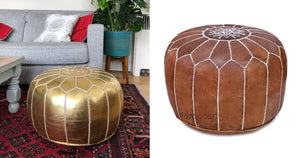 My Moroccan Pouf Looks Like an Expensive Flea Market Find, but It's Only $170 on Amazon!