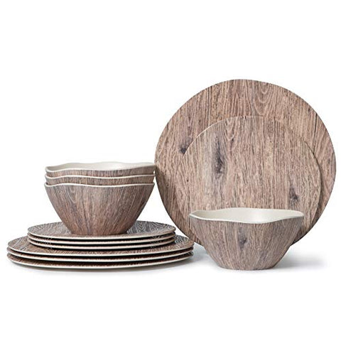 Melamine Dinnerware Set  12pcs Melamine Plates and Bowls Set for Indoor Outdoor Use, Dishes Dinnerware Set Service for 4, Dishwasher Safe, Wood Grain