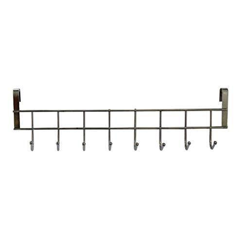 Featured 8 double hook over the door hanger by kurtzy stainless steel organizer rack for coat towel bag hat or robe polished silver chrome finish no mounting or fixings required