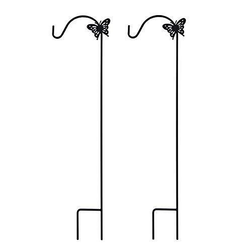 Latest mtb shepherd hook 64 inch butterfly style black strong rust resistant steel ideal for hanging planter bird feeders lanterns solar lights mason jars hummingbird feeder hanger shepherds hook 2 pack