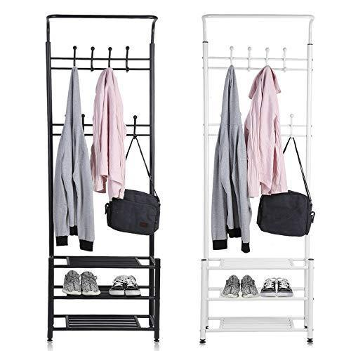Buy moorecastle multi purpose entryway shoes storage organizer hall tree bench with coat rack hooks clothes stand perfect home furniture