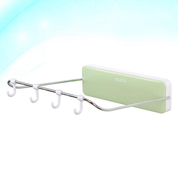 Heavy duty ounona automatic rebound bathroom wash basin storage rack foldable dish pan brush towel shelf hanger with 4 hooks green
