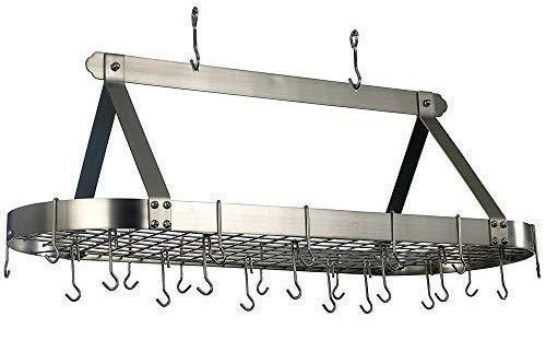 Home old dutch oval hanging pot rack with grid 24 hooks satin nickel 48 x 19 x 15 5