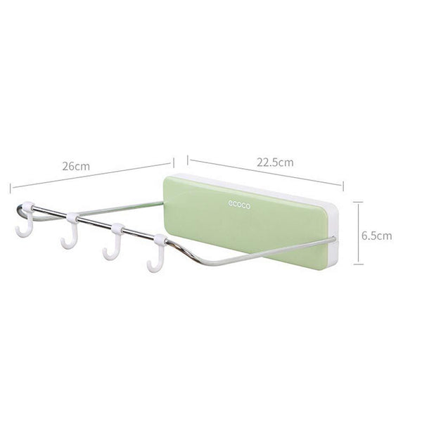 Home ounona automatic rebound bathroom wash basin storage rack foldable dish pan brush towel shelf hanger with 4 hooks green