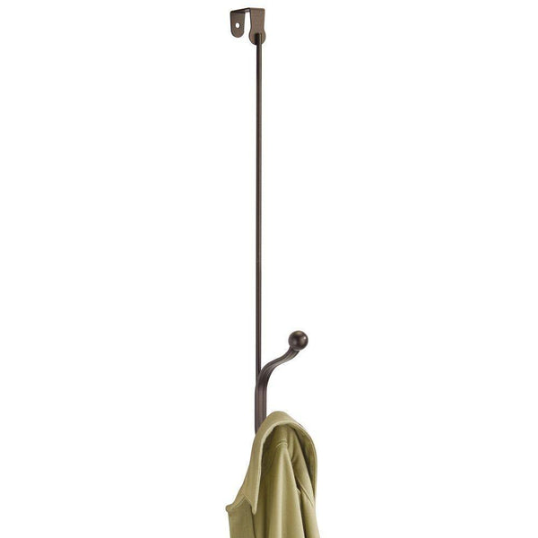 Purchase mdesign metal modern long easy reach over the door storage organizer rack hang coats hoodies hats scarves purses leashes towels robes clothing 17 tall 2 hooks 2 pack bronze