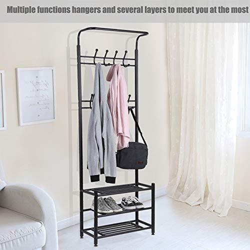 Buy now moorecastle multi purpose entryway shoes storage organizer hall tree bench with coat rack hooks clothes stand perfect home furniture