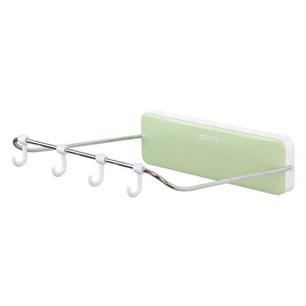 Get ounona automatic rebound bathroom wash basin storage rack foldable dish pan brush towel shelf hanger with 4 hooks green