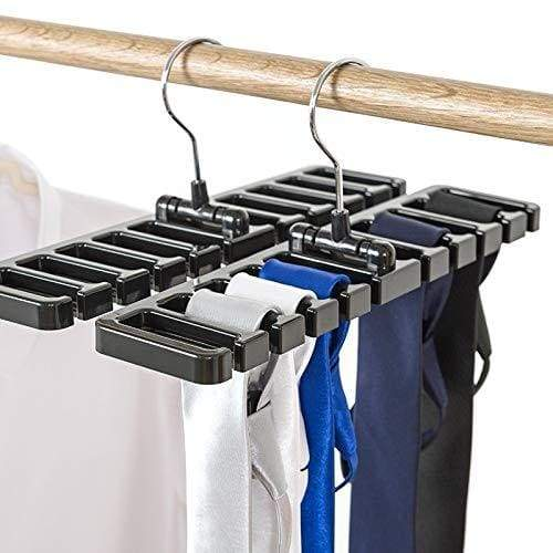 Products gano zen sturdy plastic tie belt scarf rack organizer closet wardrobe space saver belt hanger with metal hook