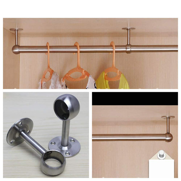 "Reekey 4 Pack Clothes Hanger Hanging Tube Base Curtain End Bracket Support Kitchen Organizer (0.75"")"