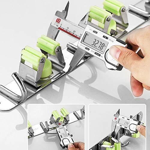 Latest joyhill mop and broom holder wall mount stainless steel broom organizer self adhesive garden tool hangers 3 position 4 hooks