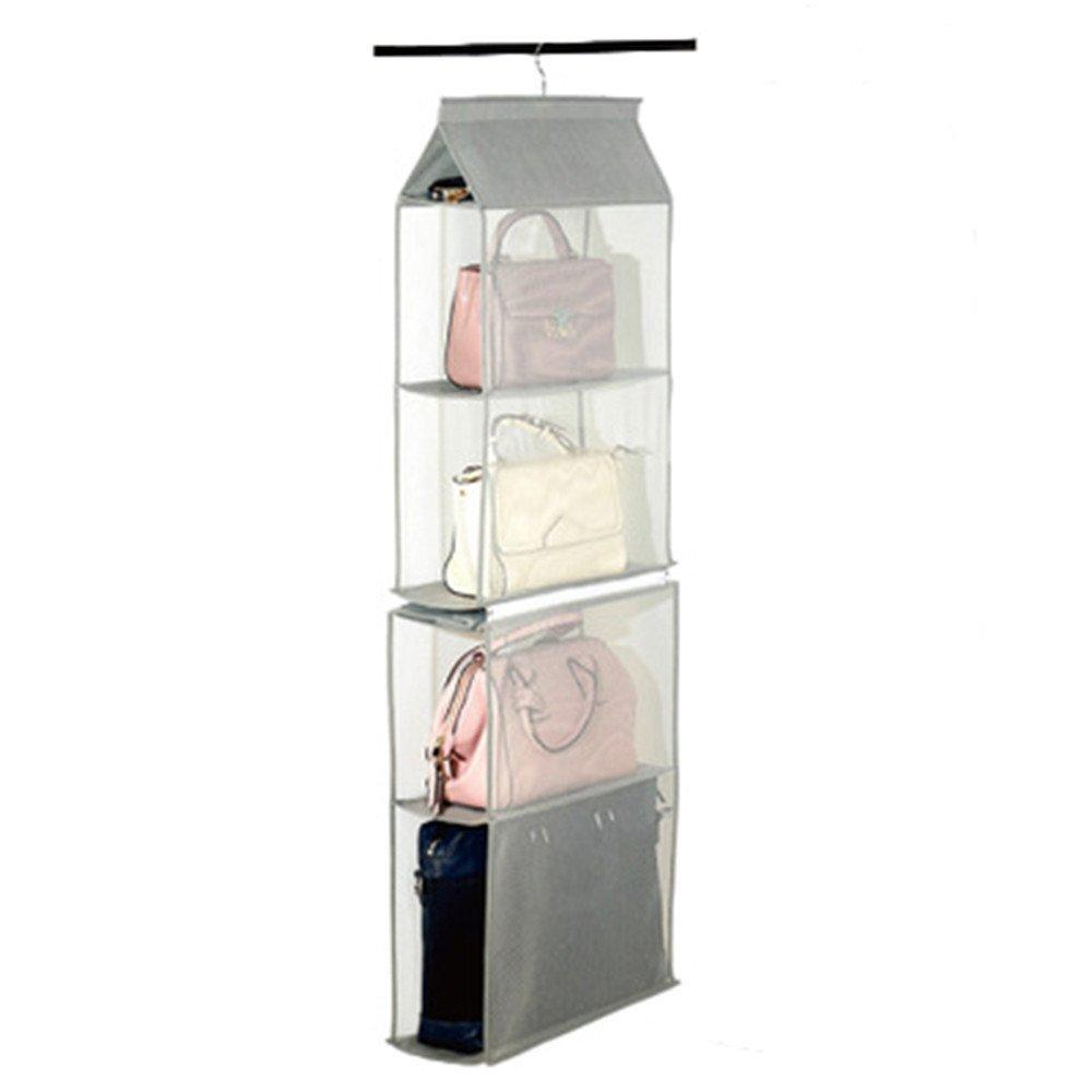 Products zaro 2 in 1 hanging shelf garment organizer for bags clothes 4 shelves practical closet purse storage collapsible space saver accessory breathable mesh net with hooks hanger easy mount gray