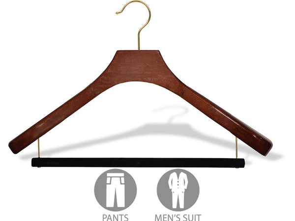 Discover the deluxe wooden suit hanger with velvet bar walnut finish brass swivel hook large 2 inch wide contoured coat jacket hangers set of 12 by the great american hanger company