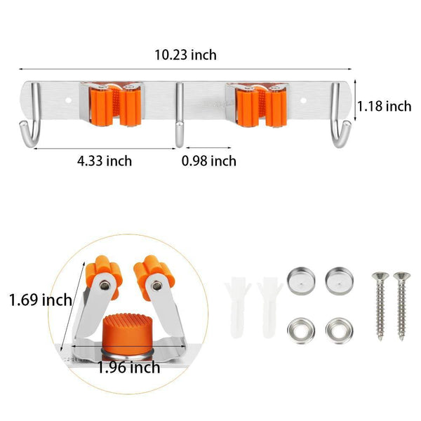 Buy now vodolo mop broom holder wall mount garden tool organizer stainless steel duty organizer with 2 racks 3 hooks for kitchen bathroom closet garage office laundry screw or adhesive installation orange