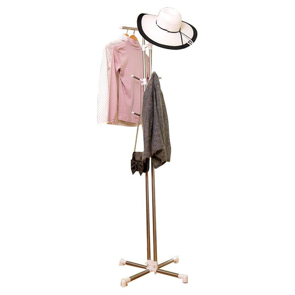 Fly Mai Stainless Steel Coat Rack Floor-mounted Bedroom Hat/Clothes Rack Storage Shelf, H: 173cm Height-adjustable