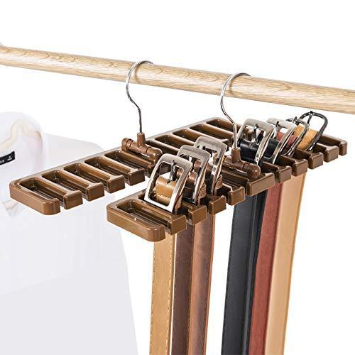 Organize with gano zen sturdy plastic tie belt scarf rack organizer closet wardrobe space saver belt hanger with metal hook