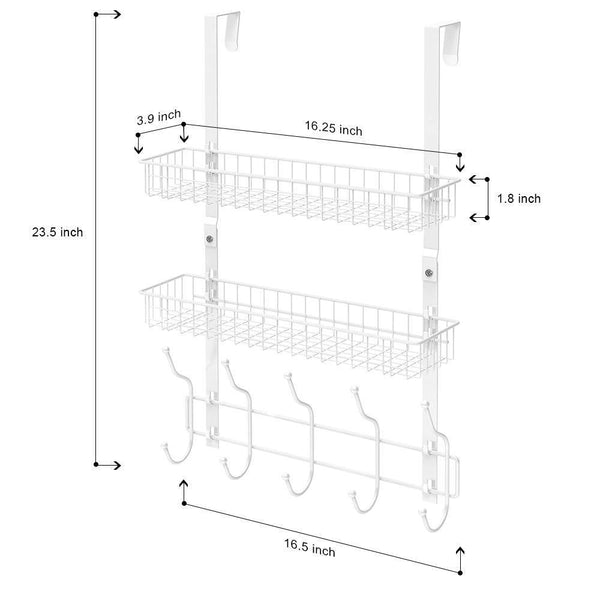 Save nex upgrade over the door hook shelf organizer 5 hooks with 2 baskets storage rack for coats towels chrome white