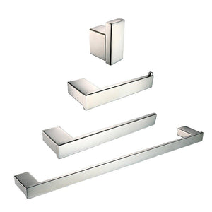 Buy now auswind 4 piece wall mounted 304 stainless steel bathroom hardware set square base toilet paper holder towel bar towel rings clothes hook chrome