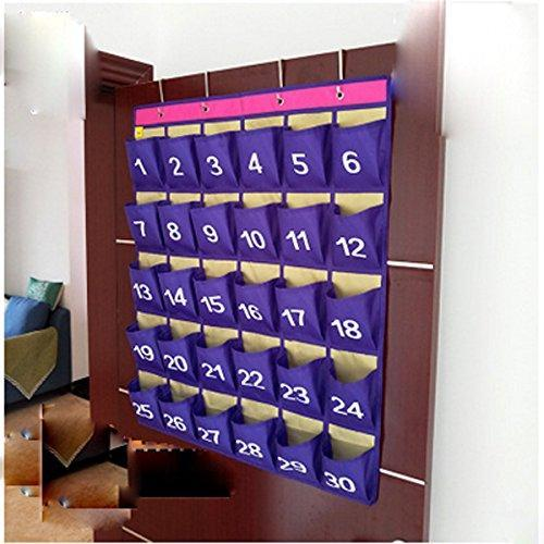 Related lecent numberes classroom pocket chart for cell phones business cards 30 pockets wall door closet mobile hanging storage bag organizer with hooks