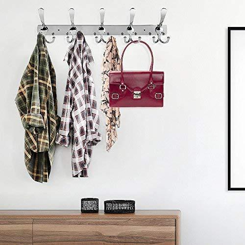 Featured turefans wall mounted coat hooks hook rail coat rack 2 packs with 15 hooks chrome plated steel coat robe hat hooks