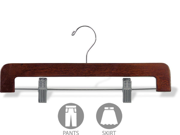 Selection the great american hanger company deluxe rounded wooden pant hanger w adjustable cushion clips box of 50 flat wood bottom hangers w walnut finish and chrome swivel hook for jeans slacks or skirt