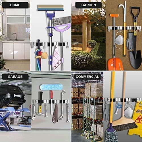 Discover the favbal broom mop holder wall mount stainless steel wall mounted storage organizer heavy duty tools hanger with 3 racks 4 hooks for kitchen bathroom closet garage office garden
