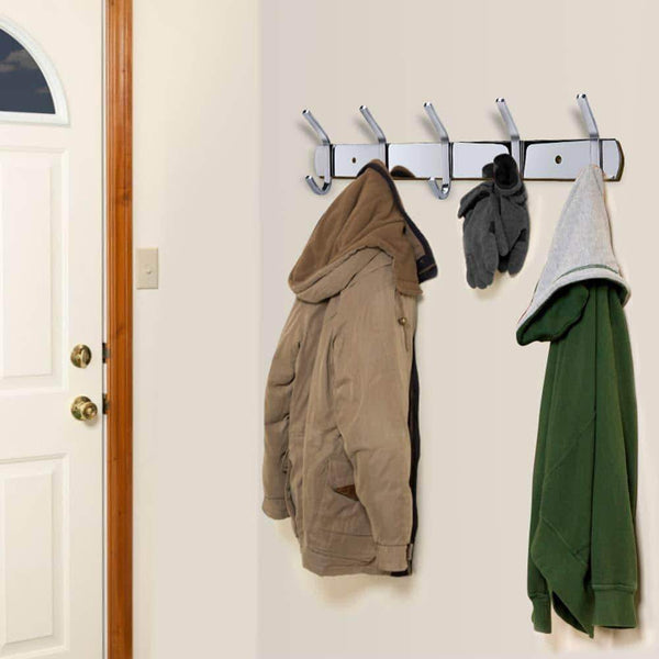 Buy now homaid wall mounted hook rail 14 stainless steel hook rack with 5 dual hanger hooks pack of 2