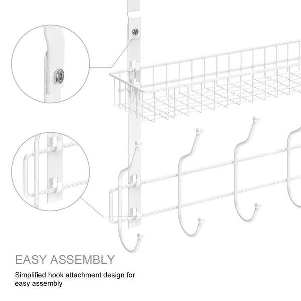 Save on nex upgrade over the door hook shelf organizer 5 hooks with 2 baskets storage rack for coats towels chrome white