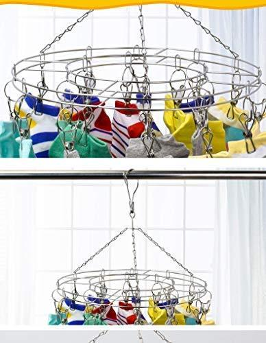 STSUNEU-L705 Hanging Clip Type Round Drying Rack Dripping Hanger Menstrual Pad/Children Hanger/Gloves/Towel/Hat/Scarf and Other Wet and Dry Hangers, Stainless Steel Wire, 20PCS Clip, 1 Set