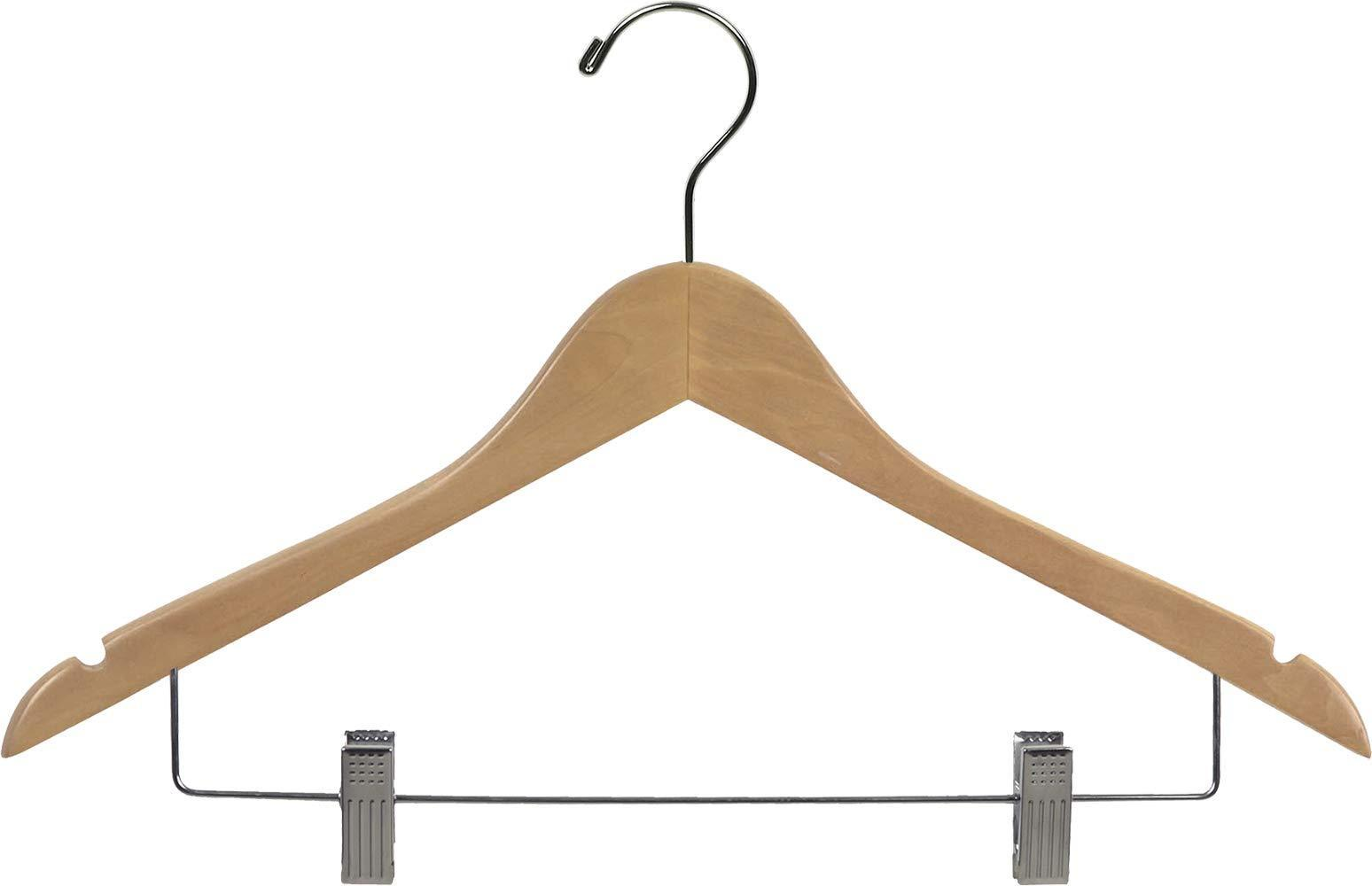 Budget wooden combo hangers with natural finish adjustable cushion clips flat 17 inch hanger with chrome swivel hook notches set of 50 by the great american hanger company