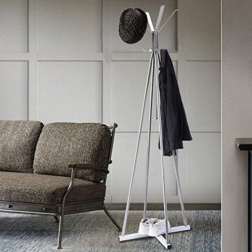Online shopping wilshine coat tree heavy sturdy metal coat rack with umbrella stand coat racks free standing with 8 hooks silver white