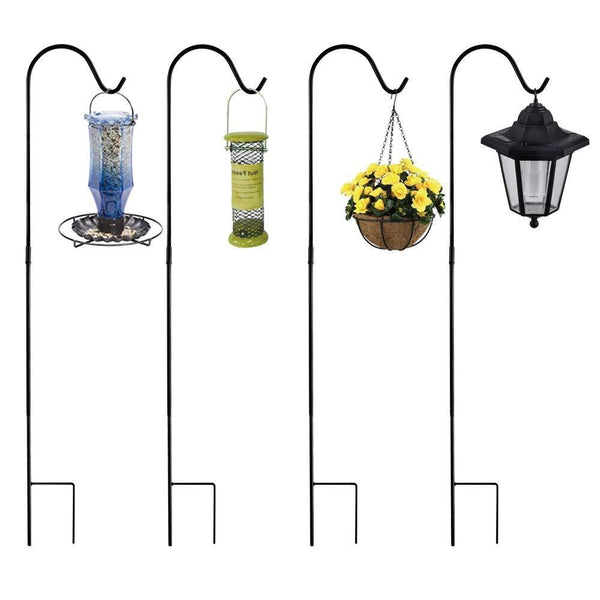 Purchase shepherd hook hanger garden stake 4 pack 48 inch strong rust resistant steel outdoor patio hook for hanging plants flower basket bird feeders pathway light solar lantern wind chimes