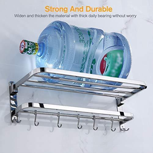 Order now 304 stainless steel towel racks for bathroom with double towel bars 24 inch wall mount bath rack rustproof double layers foldable rail shelves bar with hooks
