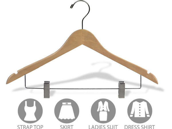 Buy wooden combo hangers with natural finish adjustable cushion clips flat 17 inch hanger with chrome swivel hook notches set of 50 by the great american hanger company