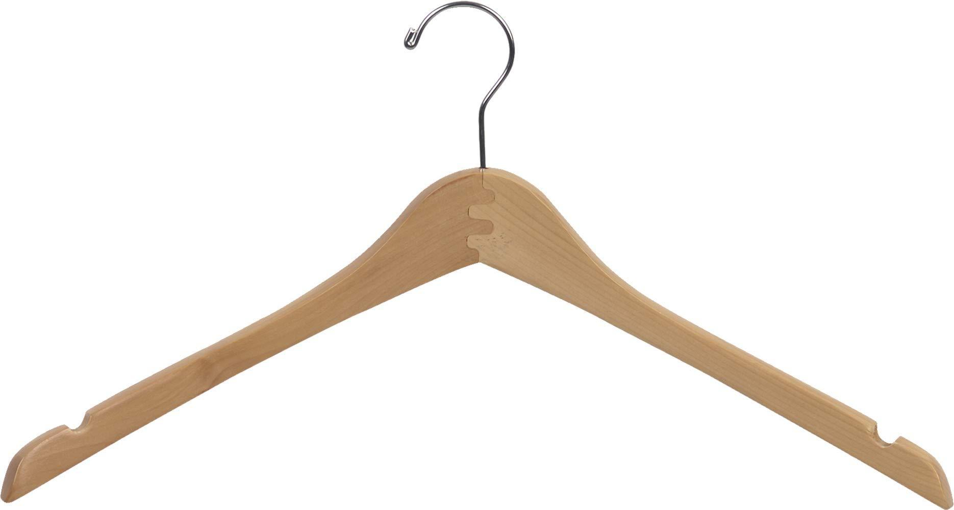 Featured the great american hanger company curved wood top hanger box of 25 17 inch wooden hangers w natural finish chrome swivel hook notches for shirt jacket or coat