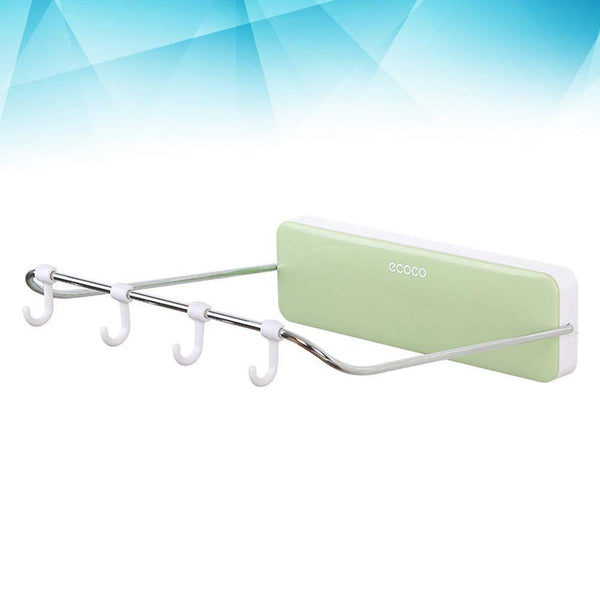 Great ounona automatic rebound bathroom wash basin storage rack foldable dish pan brush towel shelf hanger with 4 hooks green