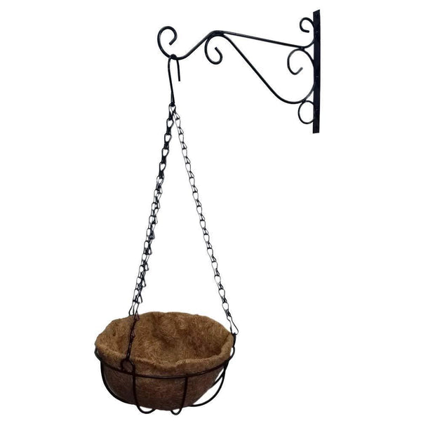 Save evniset 12 hanging plant bracket hook iron decorative plant hanger for flower basket bird feeder wind chime lanterns with 8 round coir hanging basket screw mount against