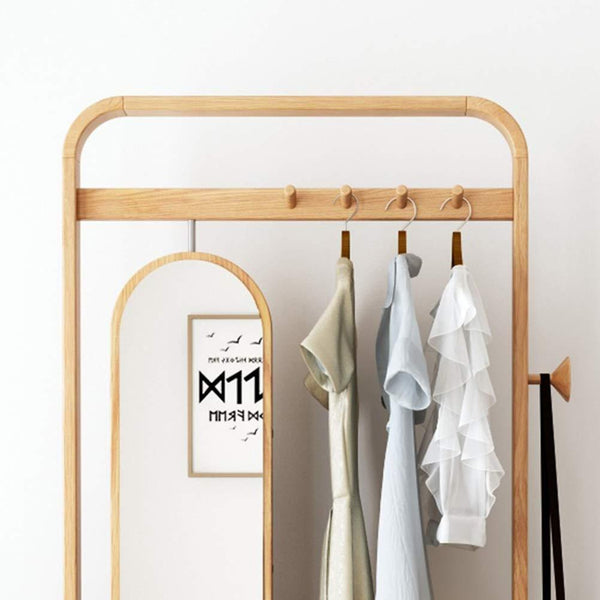 Save zcyx mirror body household dressing mirror wood hanger bedroom multi purpose coat rack storage rack hanger hooks color a