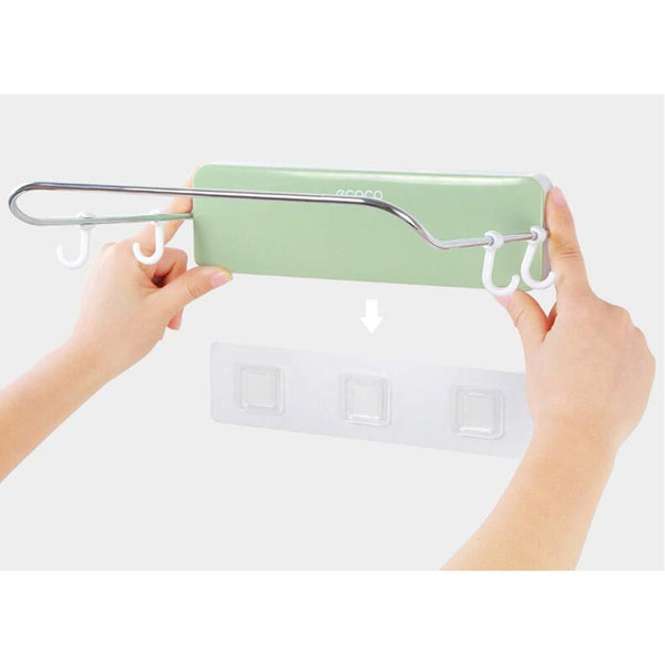 Latest ounona automatic rebound bathroom wash basin storage rack foldable dish pan brush towel shelf hanger with 4 hooks green
