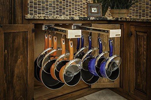 Storage dual ing glideware cookware organizer with 14 hooks by glideware llc