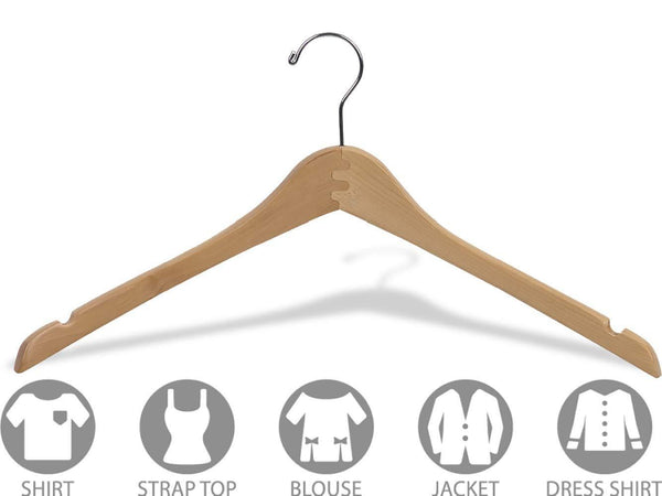 Great the great american hanger company curved wood top hanger box of 25 17 inch wooden hangers w natural finish chrome swivel hook notches for shirt jacket or coat
