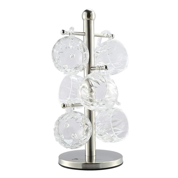 Top rated lian mug tree hanger holder mug tree with 6 hooks stainless steel cups draining stand 361414cm