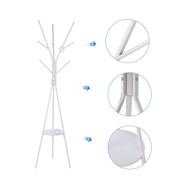 Online shopping home bi coat rack stand coat hanger with 9 hooks for holding jacket hat purse white