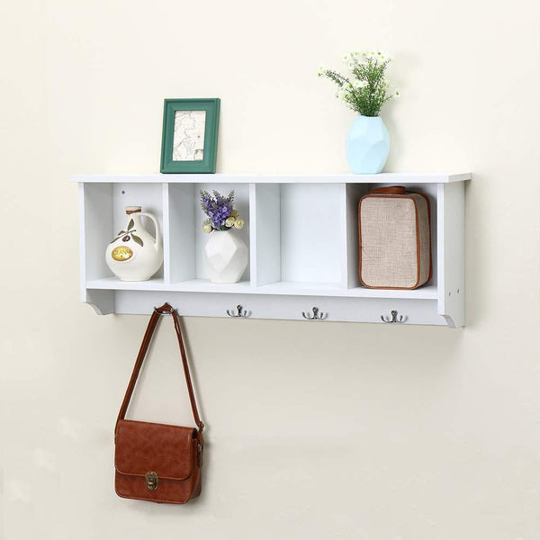 Amazon best love furniture floating shelf coat rack wall mounted cabinets hanging entryway shelf w 4 hooks storage cubbies organizer white