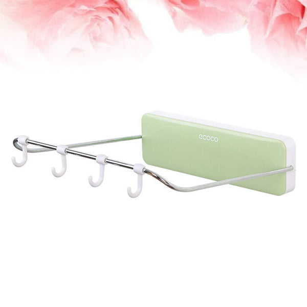Featured ounona automatic rebound bathroom wash basin storage rack foldable dish pan brush towel shelf hanger with 4 hooks green