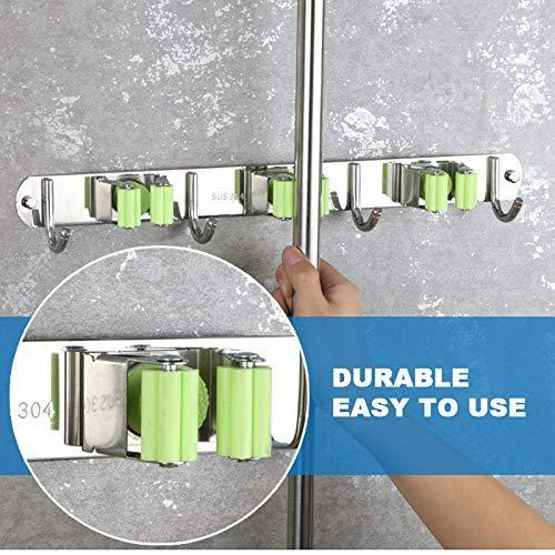 New joyhill mop and broom holder wall mount stainless steel broom organizer self adhesive garden tool hangers 3 position 4 hooks
