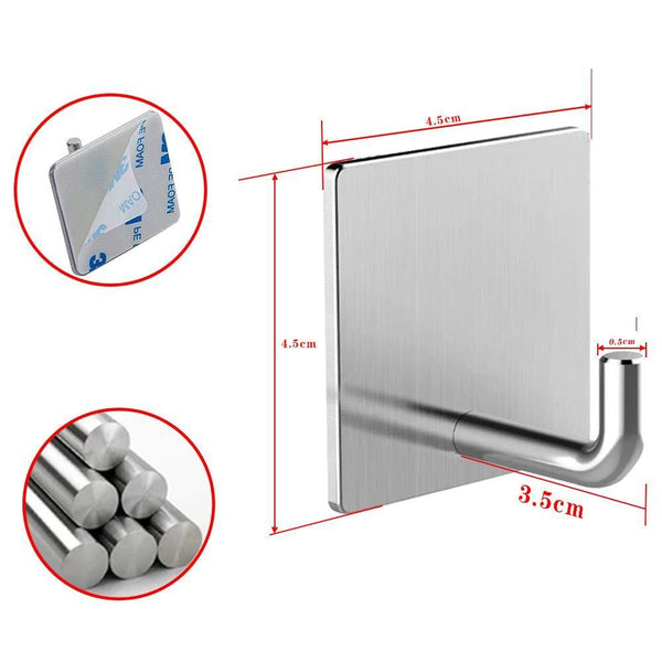 Best seller  usbnovel towel hooks bathroom hook self adhesive hooks office hooks hanging keys for kitchen stick on wall stainless steel 4 packs